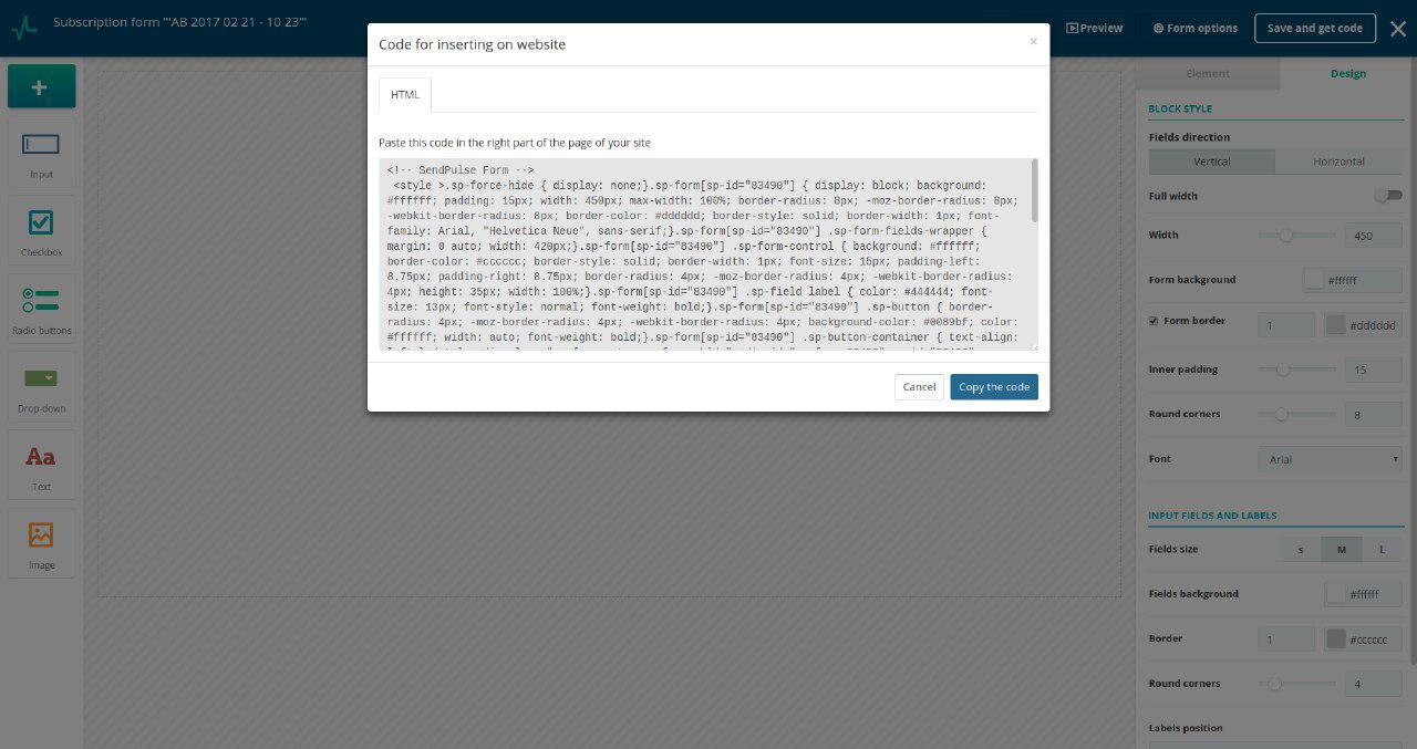 Abonelik formu kodunu kopyalayın