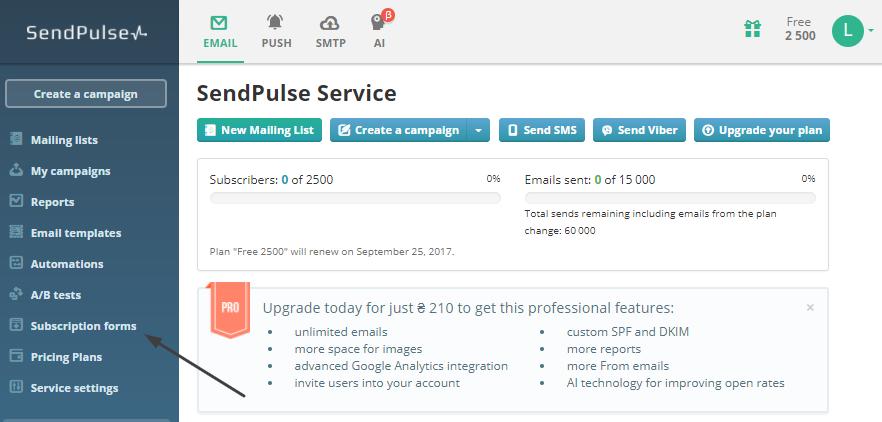 SendPulse hesabınızdan abonelik formlarını seçin