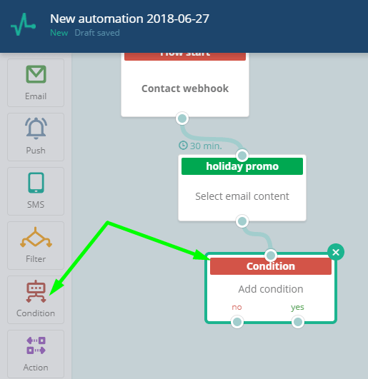 Adding automation condition