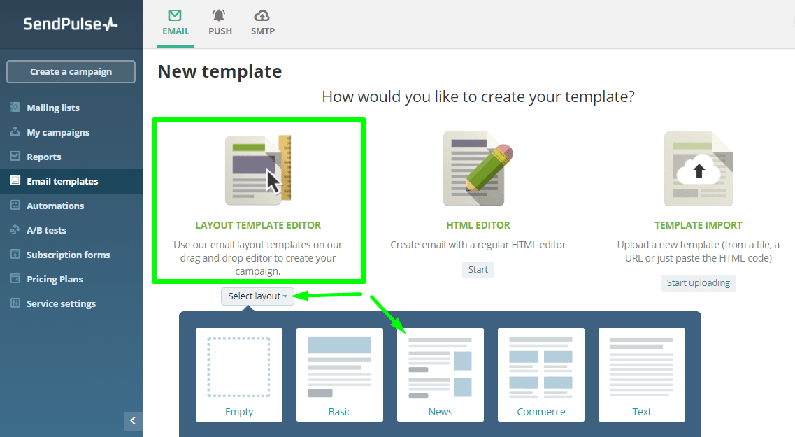 how to create your own template sendpulse