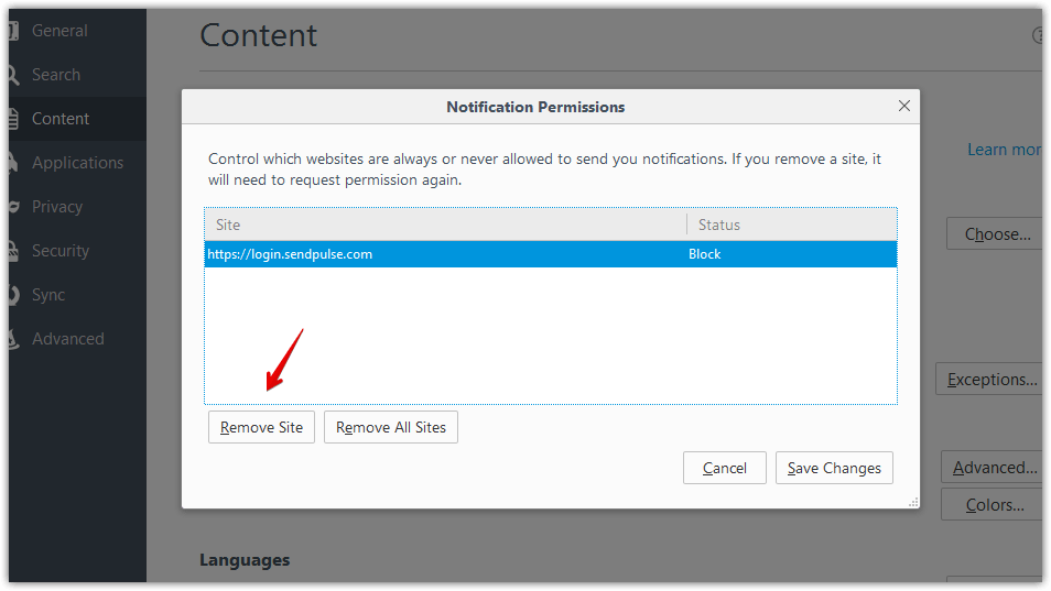 How to unblock web push notifications