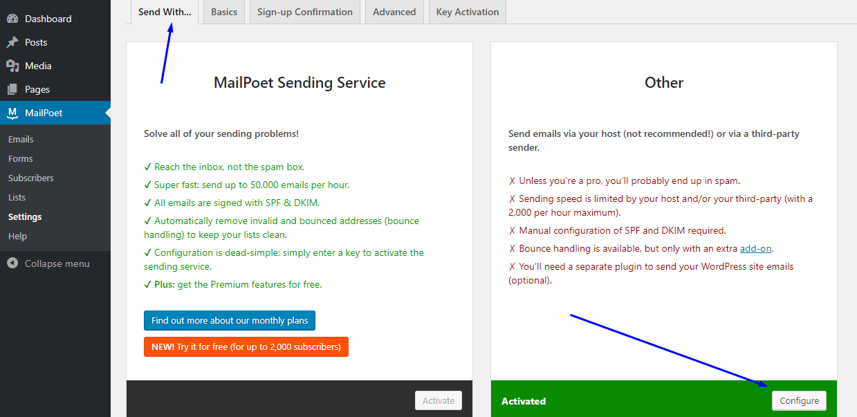 Select email delivery type