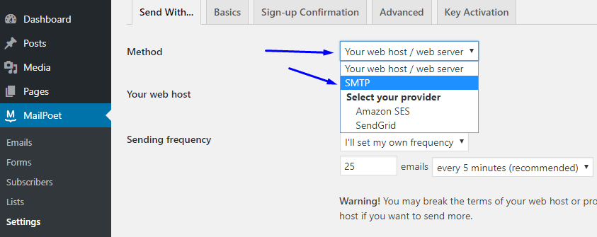 Select an email delivery method
