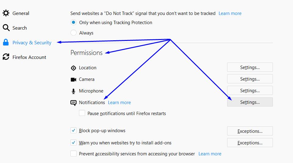 Select push notifications settings