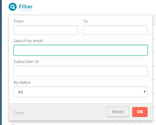 Set up the filter parameters