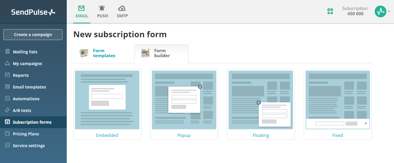 How to create a subscription form | SendPulse