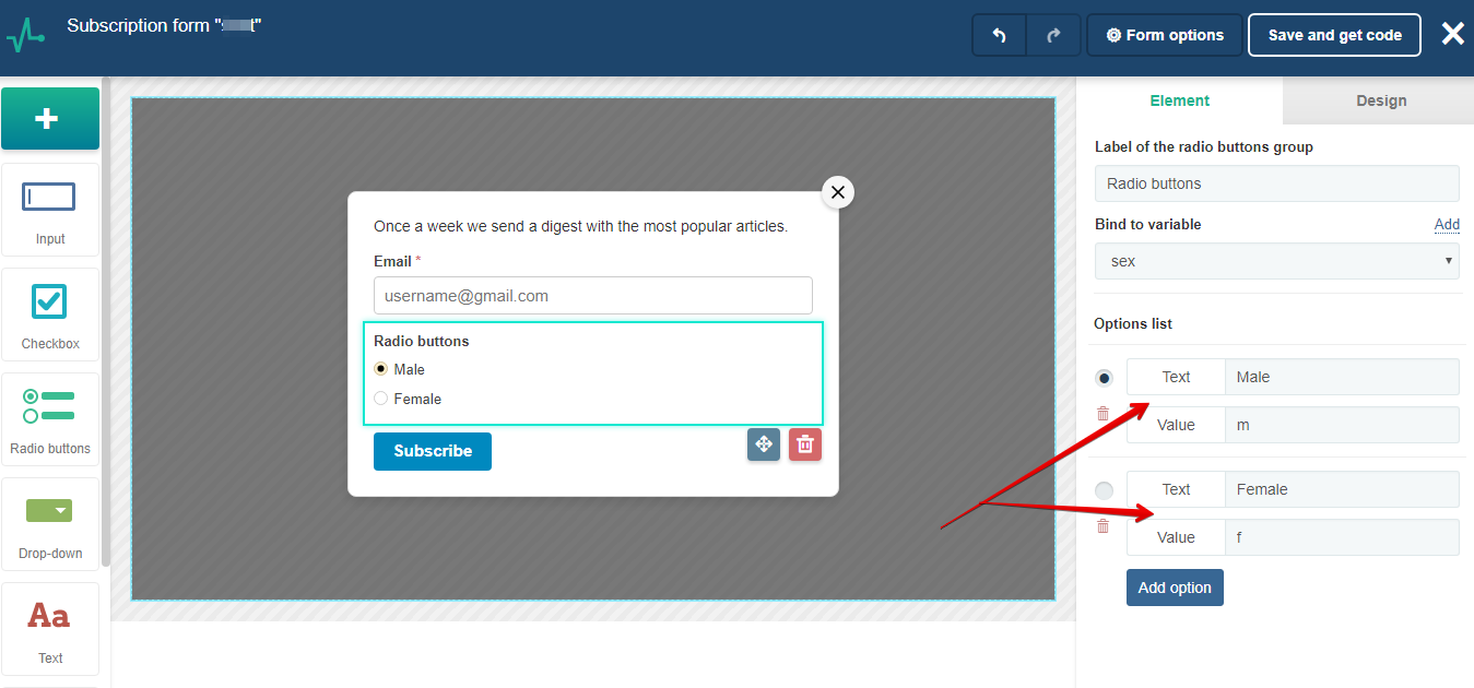 Use radio buttons