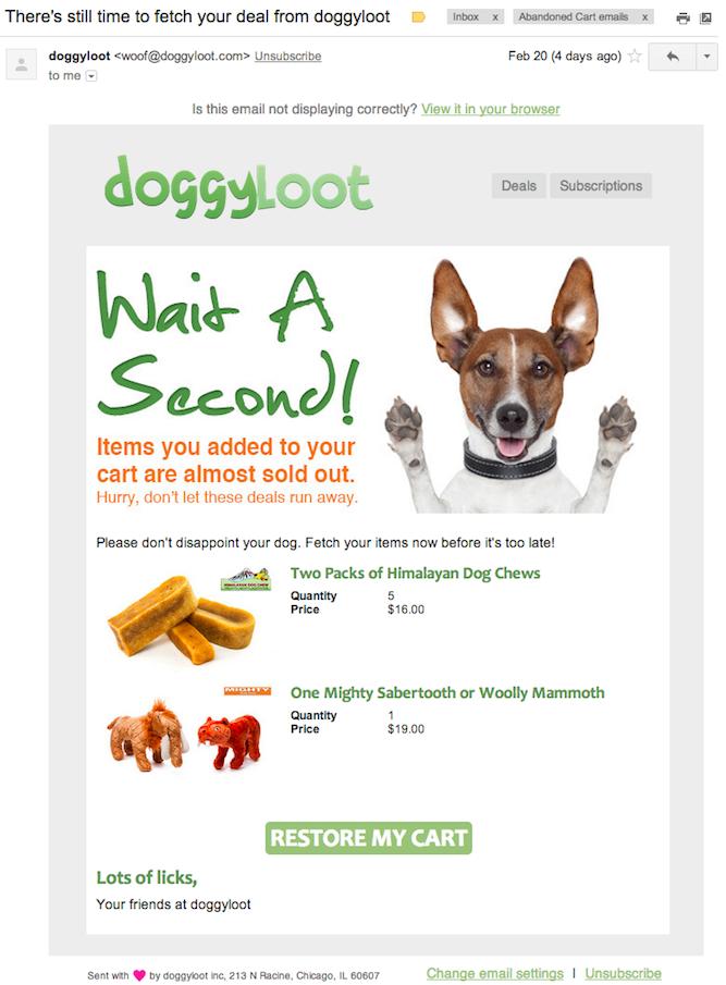 Abandoned shopping cart email