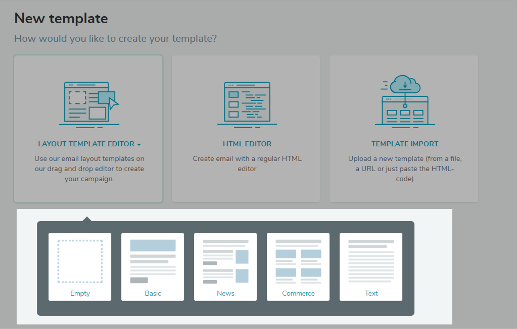 Сhoose the email template structure