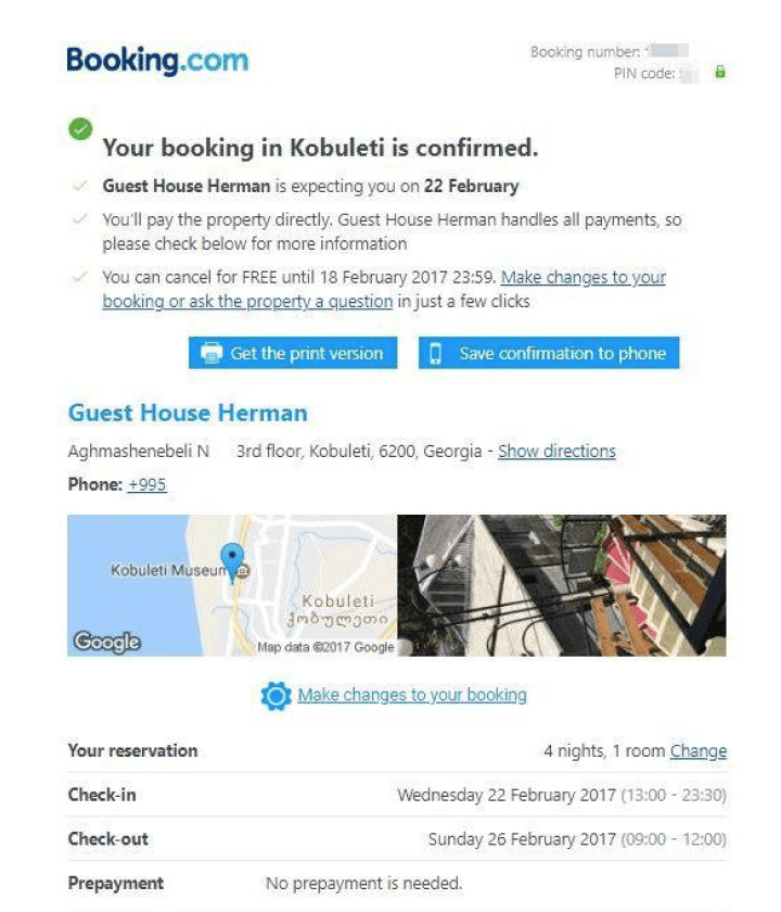 Booking confirmation email