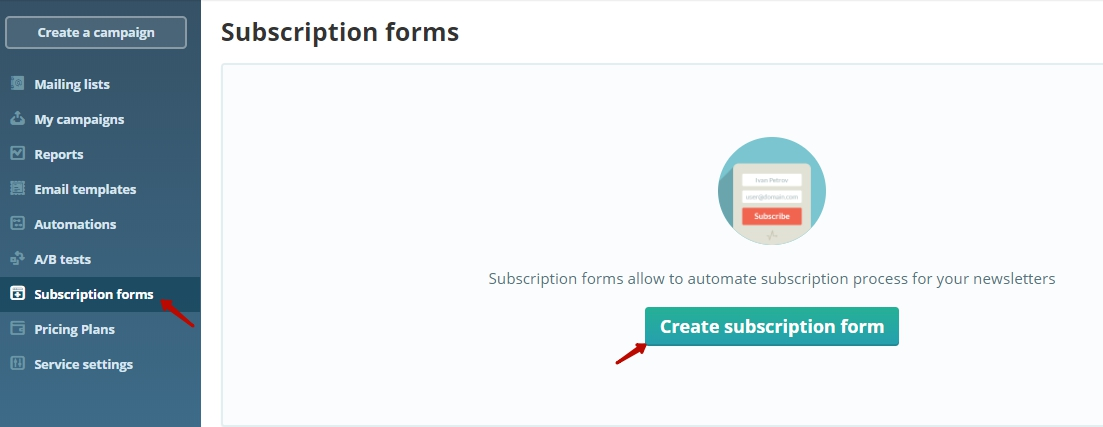 Create a subscription form