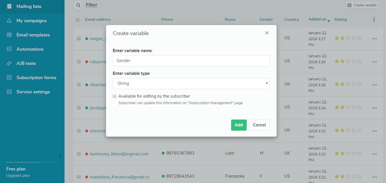 Create a variable