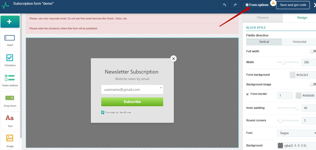 Go to subscription form options