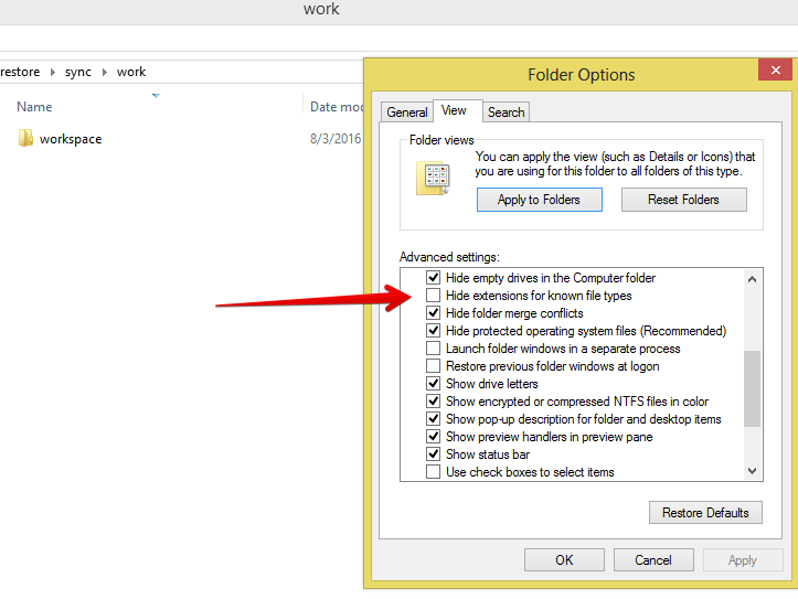 Make hidden extensions visible for Windows 10