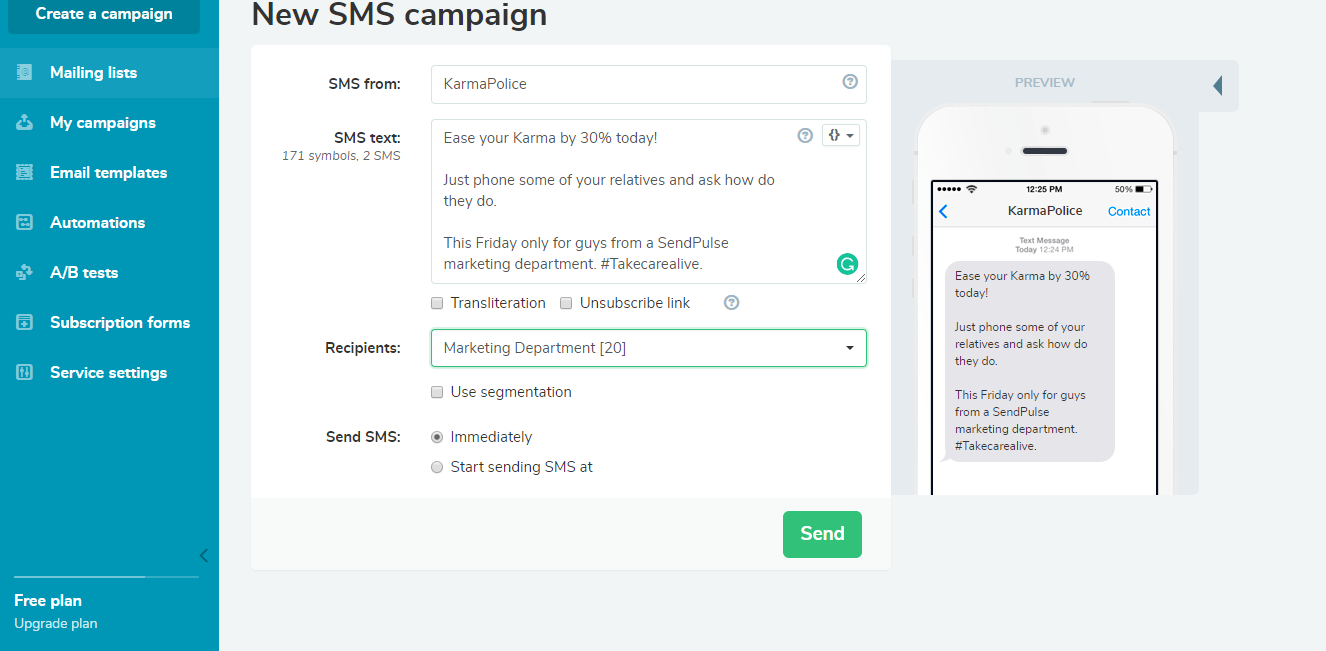 Send SMS campaign