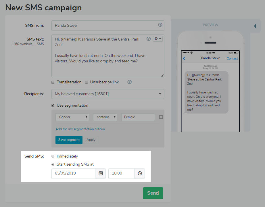 Launch SMS campaign