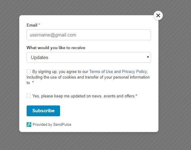 SendPulse subscription form
