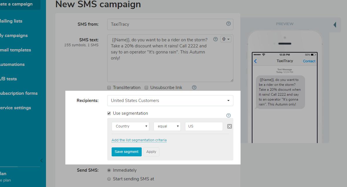 SMS segmentation